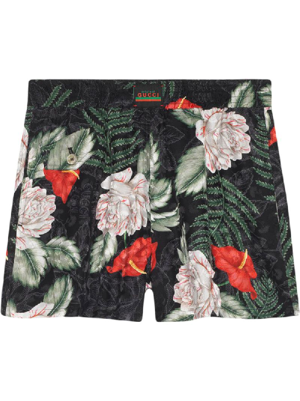 Gucci Hawaiian Print Silk Shorts In Black