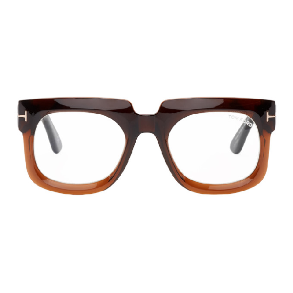 Tom Ford Brown Gradient Thick Square Glasses In 048 Shnydbr