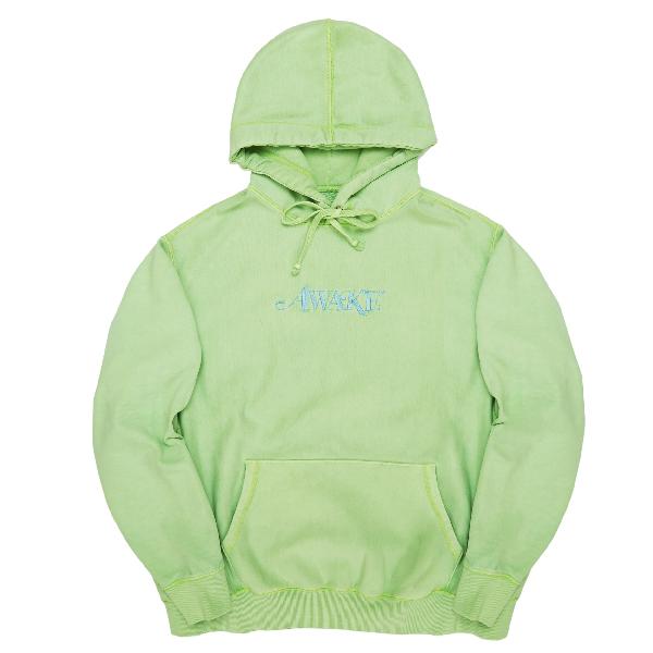 Awake Embroidered Logo Hoodie Light Green
