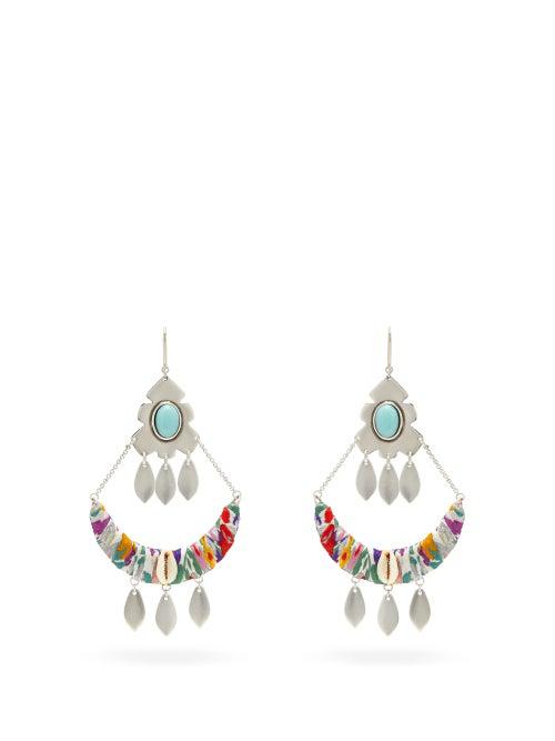 Isabel Marant Pablo Beaded Silver-tone Drop Earrings In Yellow Multi