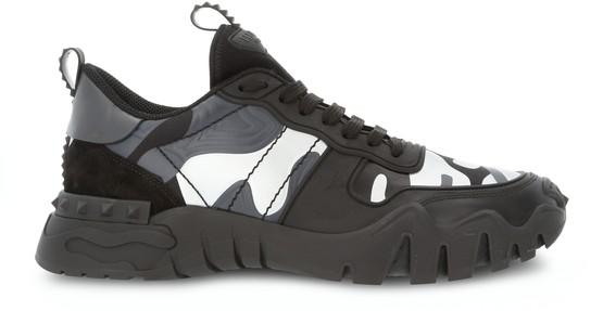 Valentino Garavani Garavani Rockrunner Plus Rubber, Suede And Canvas Sneakers In Black
