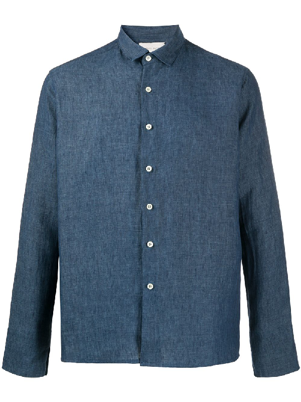 Sartorial Monk Boxy-fit Linen Shirt In Blue