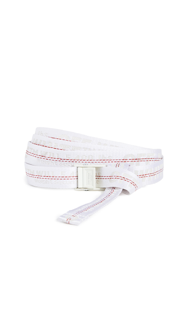 Off-white Industrial White Logo-jacquard Canvas Belt In 0101 White