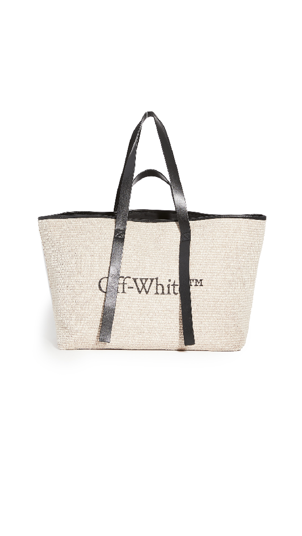 Off-white Commercial Branded Tote Bag In Rope Color In Neutrals