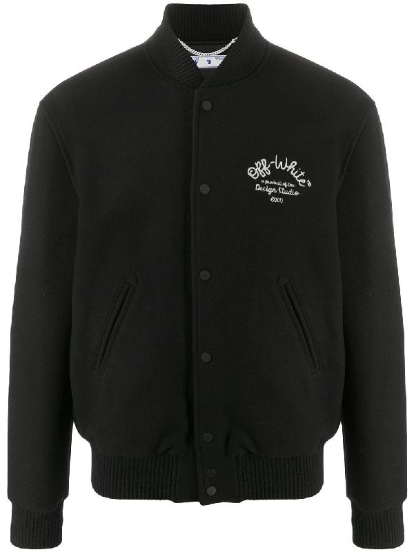 Off-white Logo Arrow Wool Blend Varsity Jacket In Black