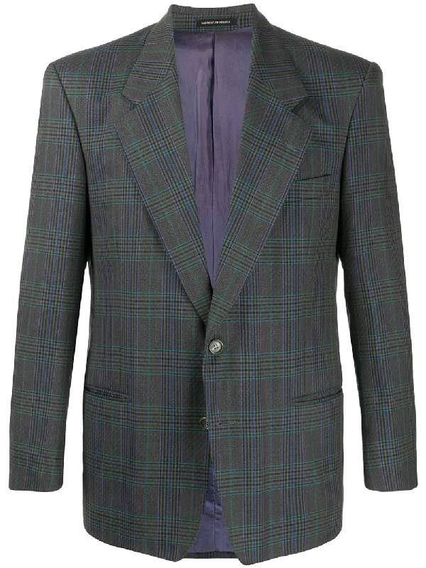 Saint Laurent Single-breasted Check Blazer In Grey