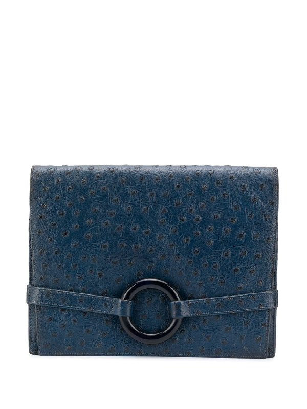 Dior Pre-owned Ring Detail Clutch Bag In Blue