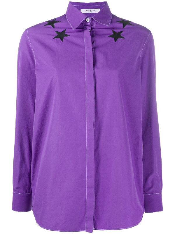 Givenchy 2000s Star Motif Detailed Shirt In Purple