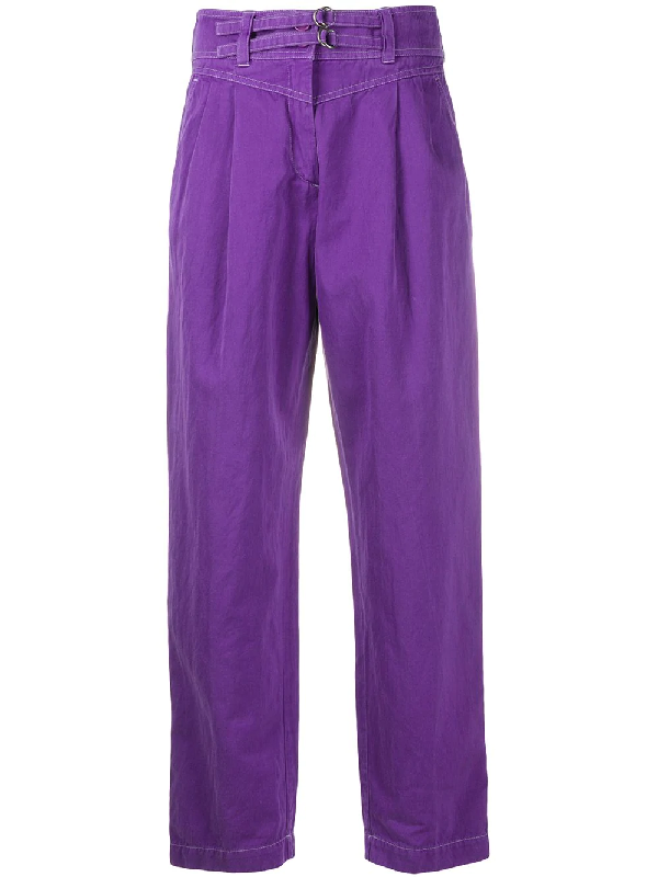 Dries Van Noten 2000s Contrast Stitching Trousers In Purple