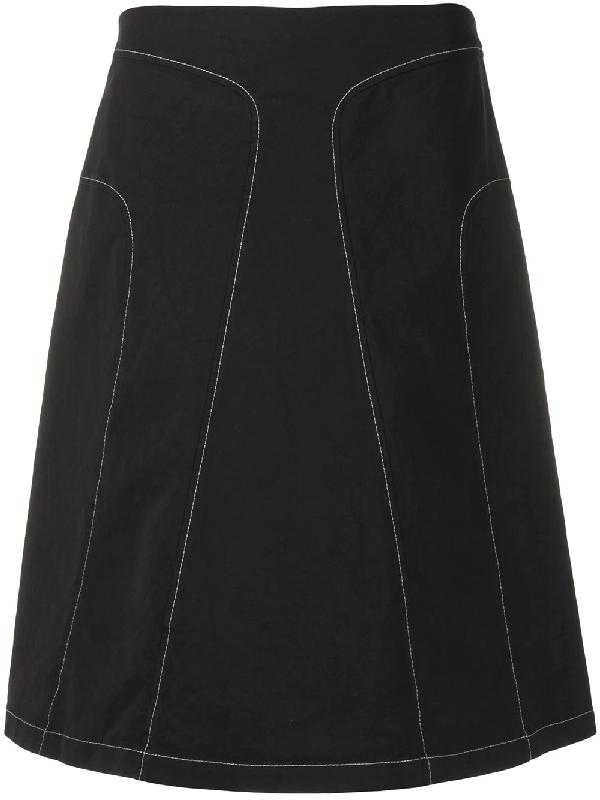 Jil Sander 2000s Contrast Stitching A-line Skirt In Black