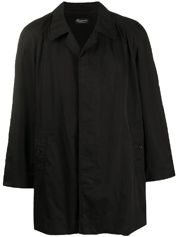 Burberry 1990s Long Sleeve Short Coat In Black
