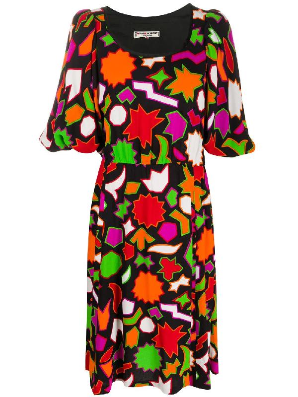 Saint Laurent 1980s Geometric Print Below-the-knee Dress In Black