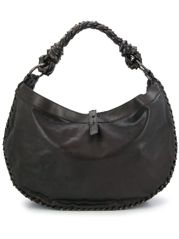 Bottega Veneta Stud Detailed Shoulder Bag In Brown