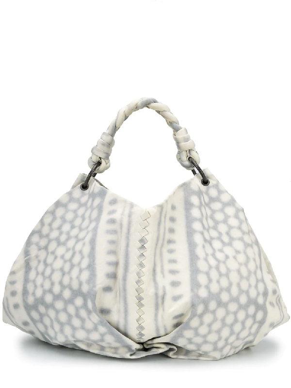 Bottega Veneta Abstract Print Shoulder Bag In White