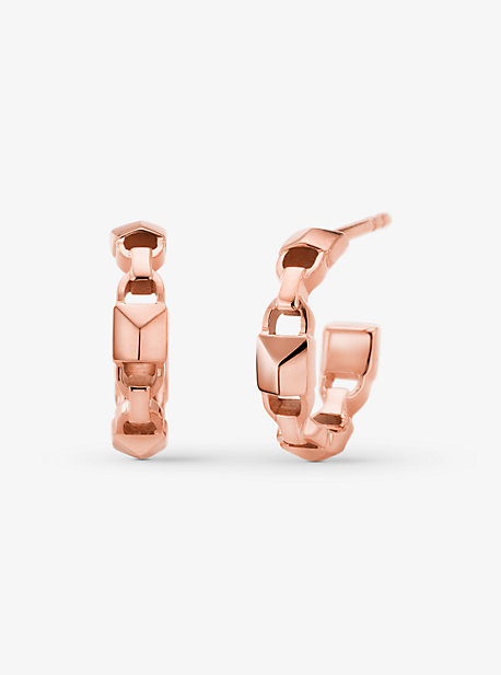 Michael Kors Precious Metal-plated Sterling Silver Mercer Link Mini Hoops In Rose Gold
