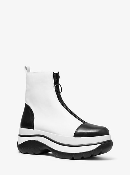 Michael Kors Esme Calf Leather Surf Boot In White