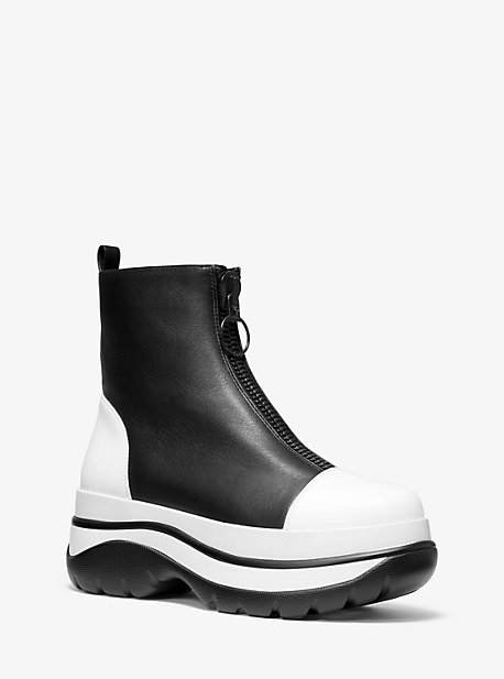 Michael Kors Esme Calf Leather Surf Boot In Black