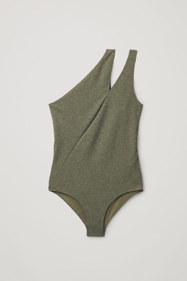 Cos Asymmetric Swimsuit In Green