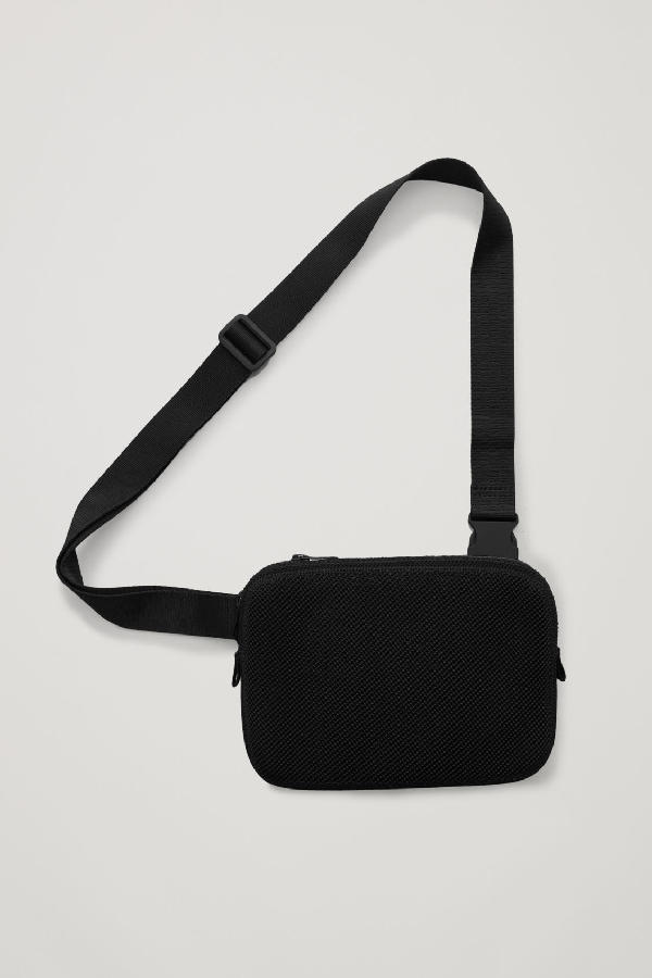 Cos Knitted Crossbody Pouch In Black
