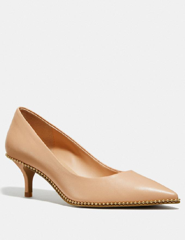 Coach Jackie Bead-trim Leather Pumps In Beechwood
