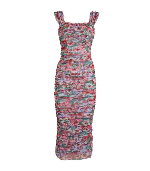 Dolce & Gabbana Ruched Floral Midi Dress