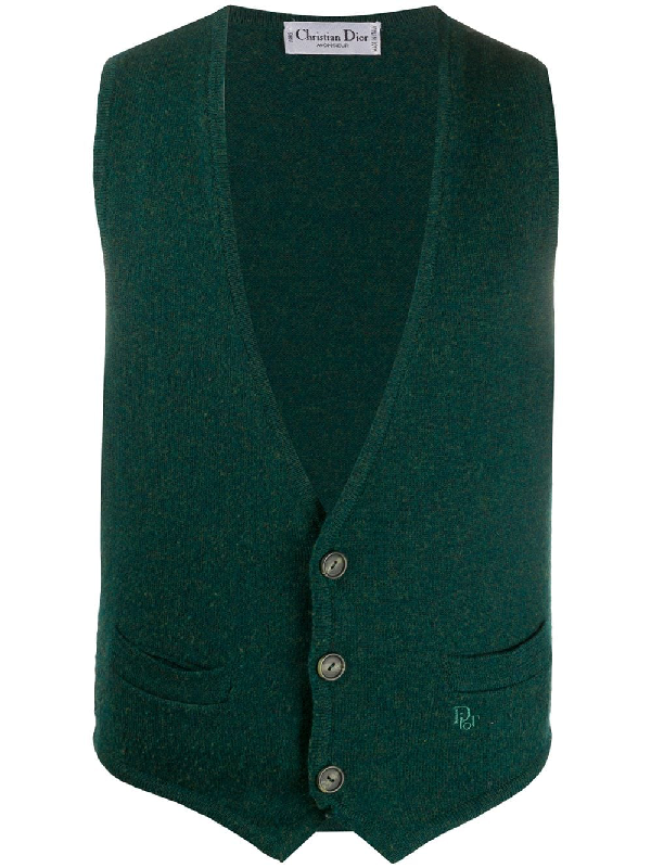 Dior 1990s Pre-owned Knitted Waistcoat In Green