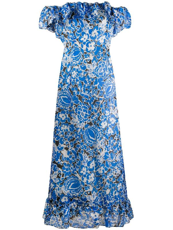 Givenchy 1970s Floral Off-the-shoulder Dress In Blue