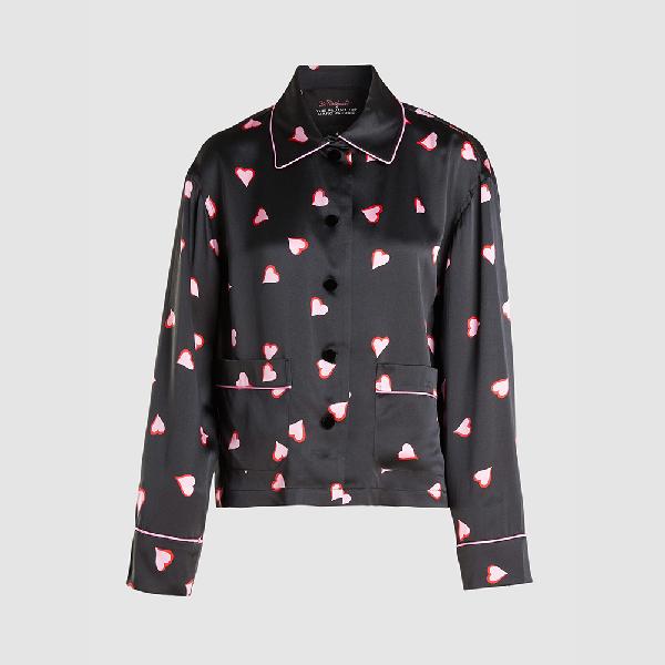 Marc Jacobs Black Heart Print Silk Pj Shirt Xs