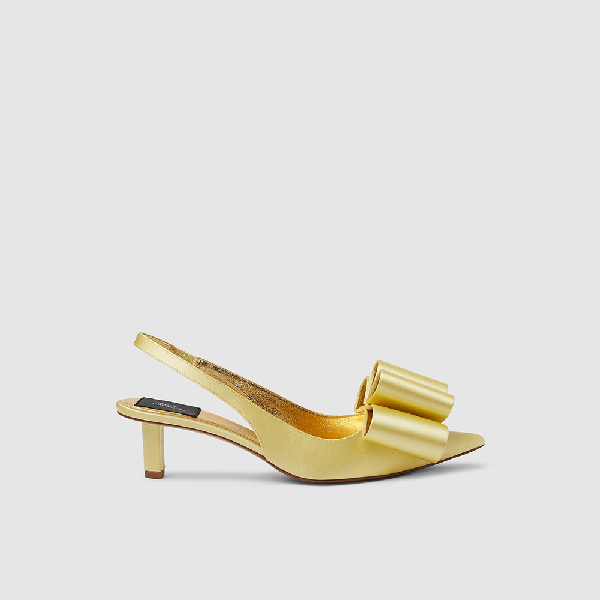 Marc Jacobs Yellow Slingback Satin Bow Pumps It 35