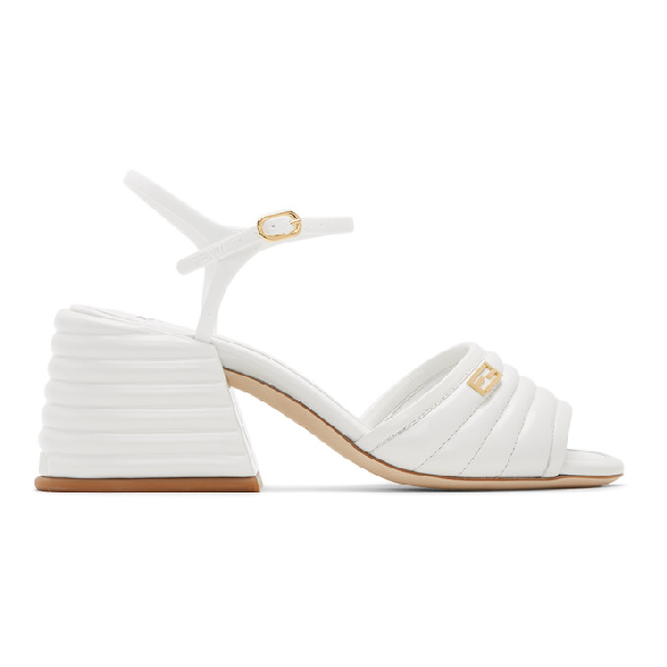 Fendi Logo-embellished Quilted Patent-leather Sandals In F1a4y White
