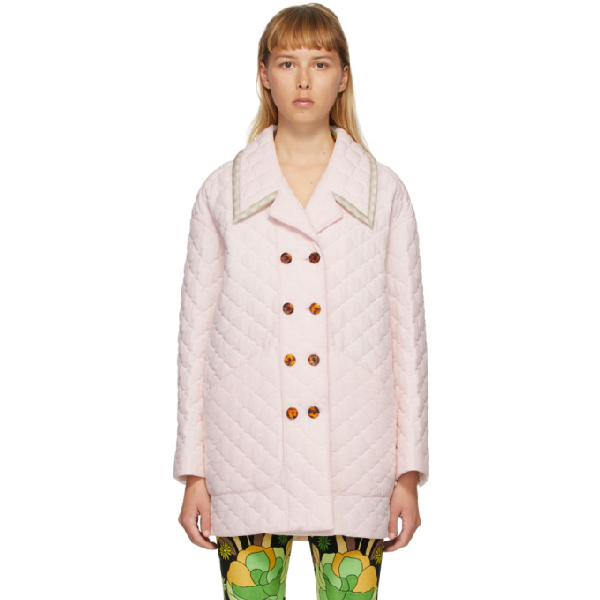 Fendi Pink Silk Washed Crepe Quilted Jacket