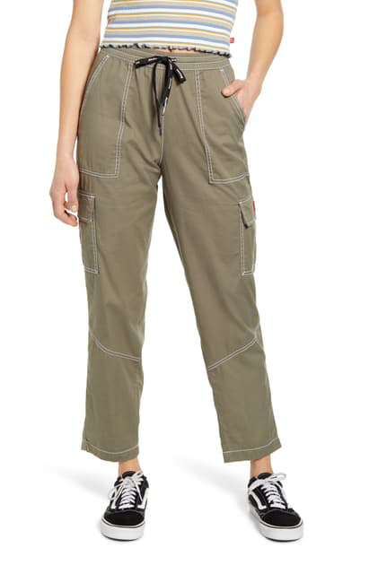 Dickies Contrast Stitch Tapered Pull On Pants In Light Olive