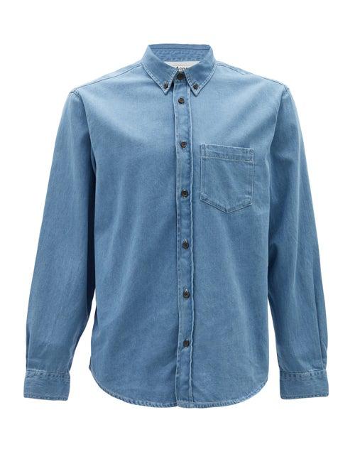 Acne Studios Slim-fit Button-down Collar Denim Shirt In Blue