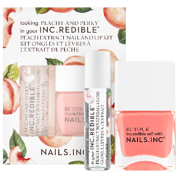 Nails Inc. Peachy And Perky Lip Gloss And Nail Polish Set