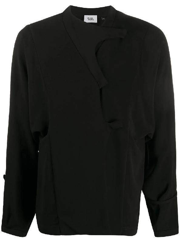 Vejas Button Up Sweatshirt In Black
