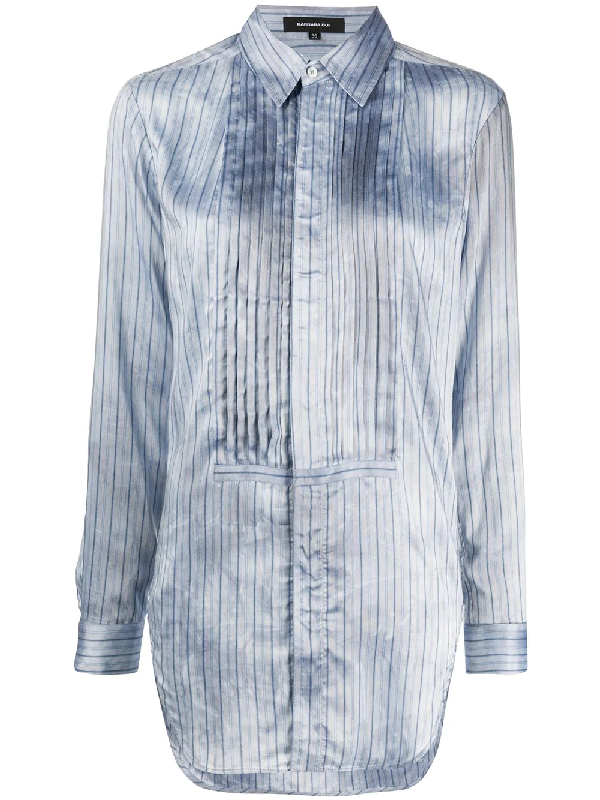 Barbara Bui Bib-front Pinstriped Shirt In Blue