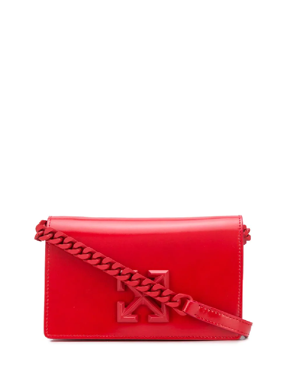 Off-white Arrows Logo Crossbody Bag In Red