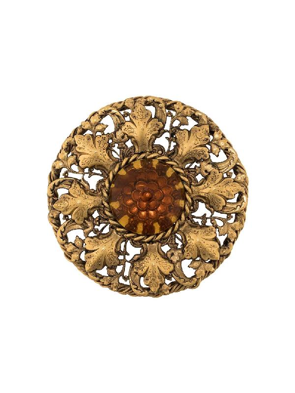 Chanel 1975-1985s Crystal-embellished Brooch In Gold