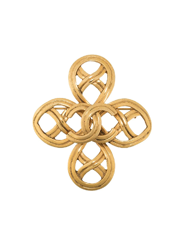 Chanel 1996 Cc Brooch In Gold