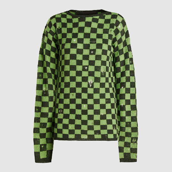 Marc Jacobs Green Check Long Sleeve Grunge Jumper S