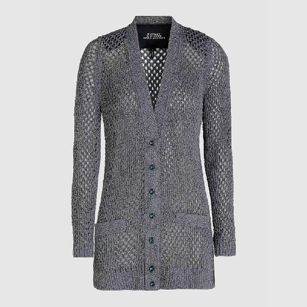 Marc Jacobs Grey Long Sleeve Metallic Mesh Cardigan M