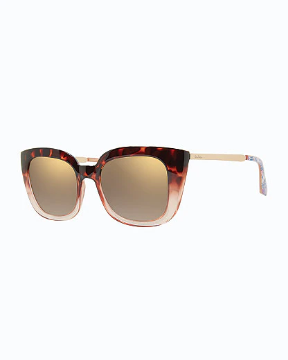 Lilly Pulitzer Circe Sunglasses In Light Gold Metallic Trunks In The Air