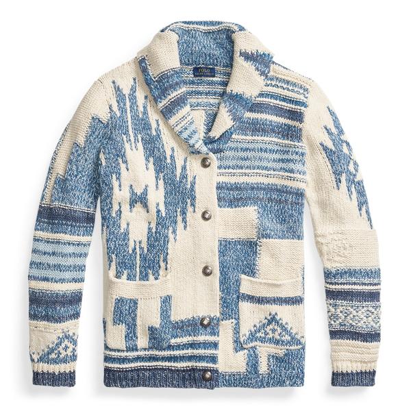Extremadamente importante desagradable compensar  Ralph Lauren Southwestern Shawl Cardigan In Cream/blue Multi   ModeSens