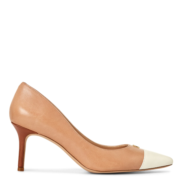 Lauren Ralph Lauren Lanette Leather Toe-cap Pump In Nude