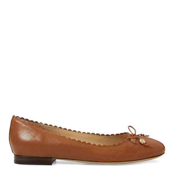 Lauren Ralph Lauren Glennie Leather Flat In Deep Saddle Tan