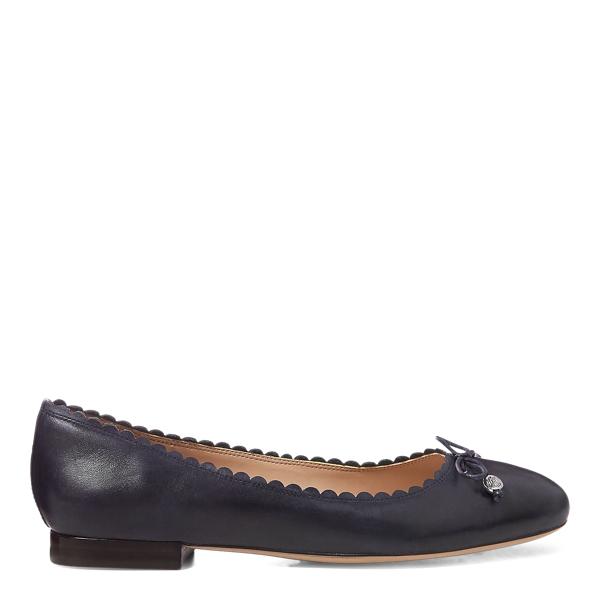 Lauren Ralph Lauren Glennie Leather Flat In Black
