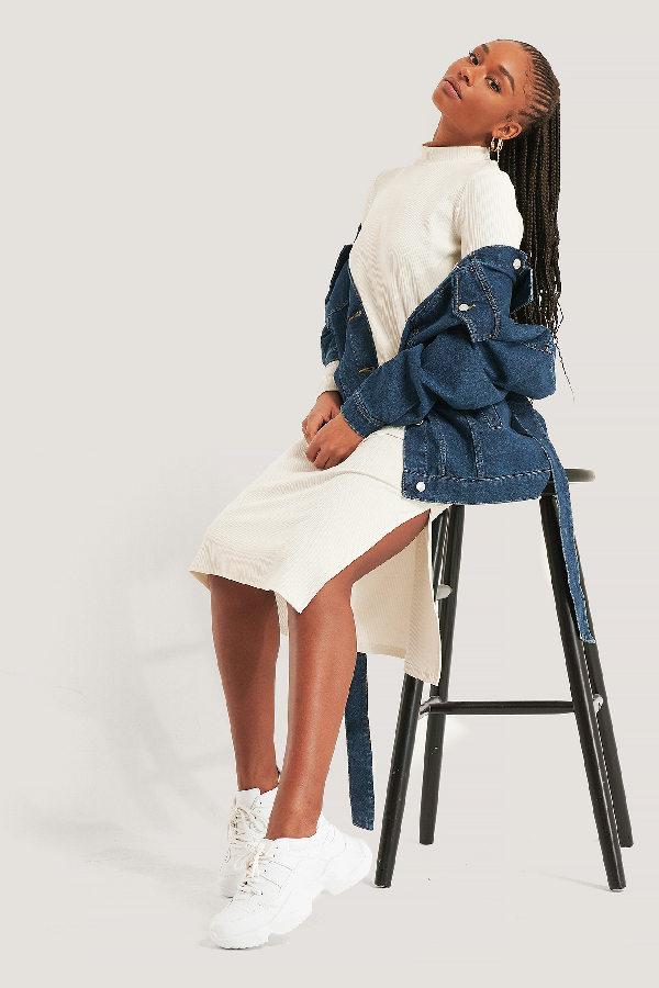 Na-kd Reborn Recycled Highneck Ribbed Basic Longsleeve Dress - Beige In Dusty Light Beige