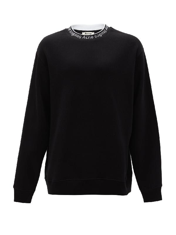Acne Studios Oversized Logo-jacquard Fleece-back Jersey Sweatshirt In Black
