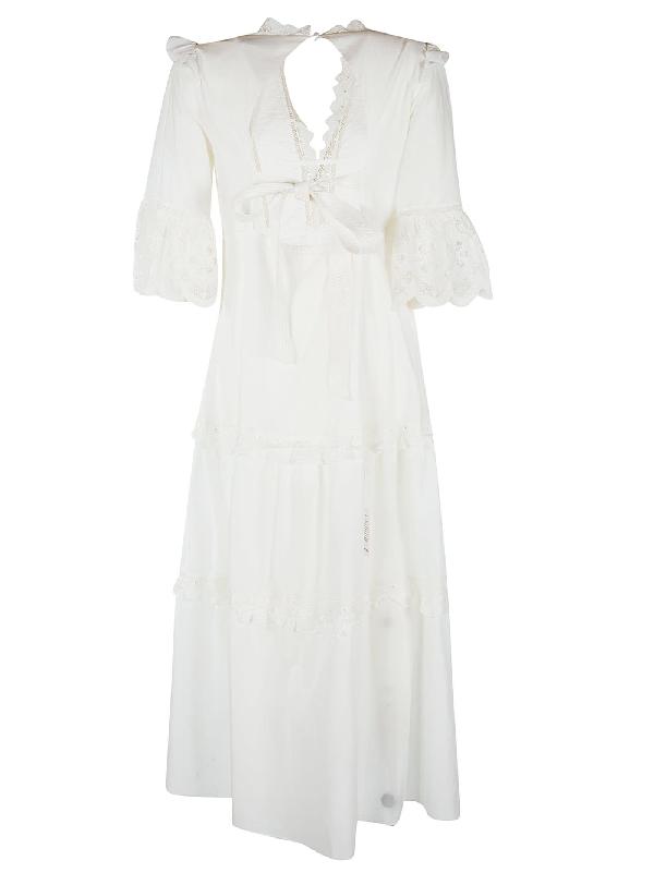 Self-portrait White Cotton Voile Maxi Dress