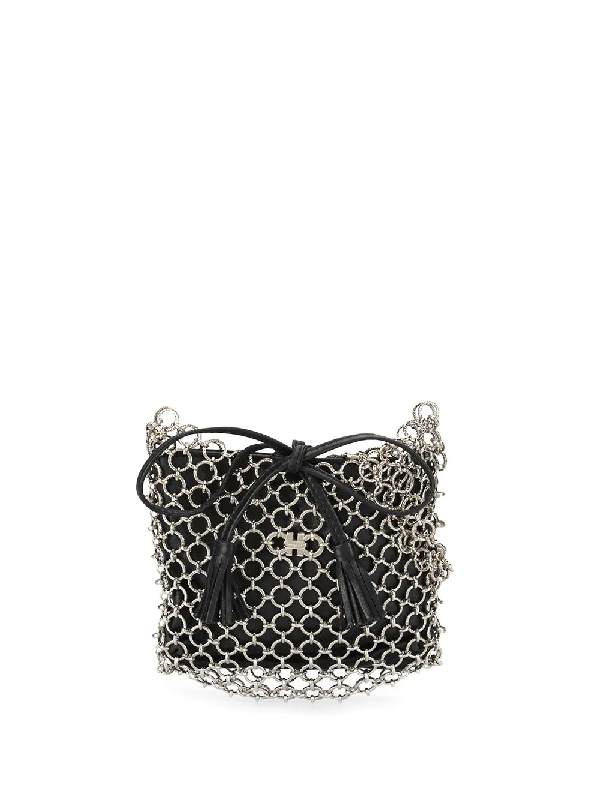 Salvatore Ferragamo Gancini Chain Shoulder Bag In Black